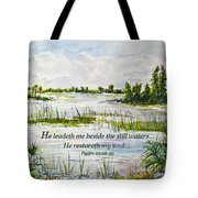 Quiet Waters Psalm 23 Tote Bag