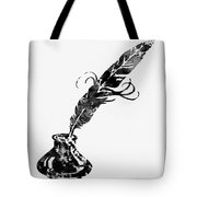 Quill And Ink-black Tote Bag