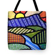 Quilted Mountain Sunrise Tote Bag