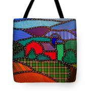 Quilted Red Barn And Mountains Tote Bag