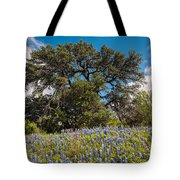 Quintessential Texas Hill Country County Road Bluebonnets And Oak - Llano Tote Bag