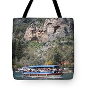 Quintessentially Dalyan River Boats And Rock Tombs Tote Bag