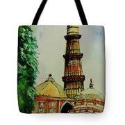 Qutab Minar Of India, Monument Of India Tote Bag