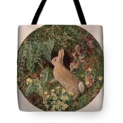 Rabbit Amid Ferns And Flowering Tote Bag