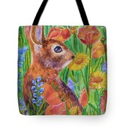 Rabbit In Meadow Tote Bag