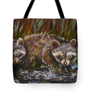Raccoons From River Mural Tote Bag