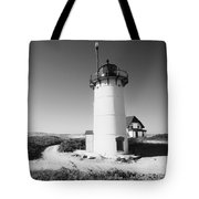 Race Point Lighthouse Black And White Photo Print Tote Bag