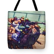 Racing To The Finish Line Tote Bag