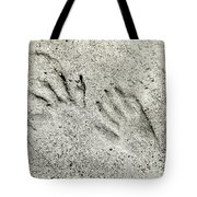 Racoon Tracks At The River Tote Bag
