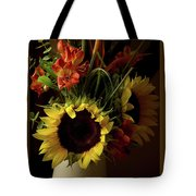 Radiant Sunflowers And Peruvian Lilies Tote Bag