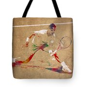 Rafael Nadal Tennis Star Watercolor Portrait On Worn Canvas Tote Bag