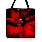 Raging Red Hibiscus Tote Bag