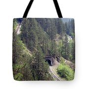 Railroad And Tunnels On Mountain Tote Bag