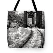 Railroad Bridge In Winter Tote Bag