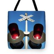Railroad Crossing Lights Tote Bag