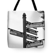 Railroad Directions_bw Tote Bag