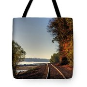 Railroad Track By The Mississippi  Tote Bag