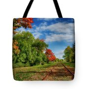 Railroad Tracks At Grand-pre National Historic Site Tote Bag