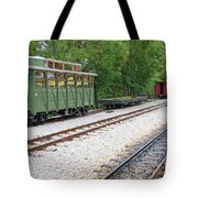 Railway Station With Old Wagons And Train Tote Bag