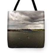 Rain Arrives Before Tall Ships Tote Bag