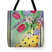 Rain Boots And Flowers Tote Bag