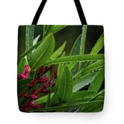 Rain Coated Blades Of Grass And  Deep Pink Petals Tote Bag