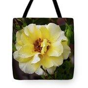 Rain Coated Yellow Rose Tote Bag
