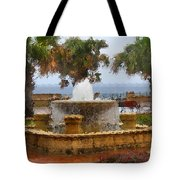 Rain Soaked Fountain Tote Bag