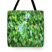 Rainbow Bubbles On The Grass Tote Bag