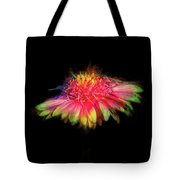 Rainbow Flower On Black Tote Bag