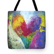 Rainbow Heart In The Cloud Acrylic Paintings Tote Bag