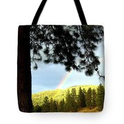 Rainbow In Pine Country Tote Bag