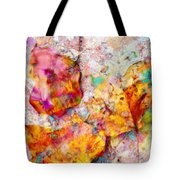 Rainbow Abstract Leaves Tote Bag