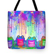 Rainbow Of Painted Frogs Tote Bag