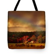 Rainbow Over Countryside Tote Bag