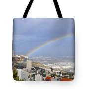 Rainbow Over Haifa, Israel  Tote Bag