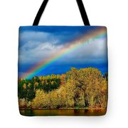 Rainbow Over Mill Pond Tote Bag