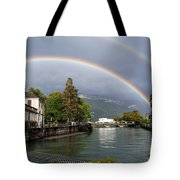 Rainbow Over Thiou River In Annecy Tote Bag