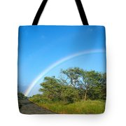 Rainbow Over Treetops Tote Bag