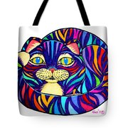 Rainbow Striped Cat Tote Bag