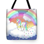 Rainbow Unicorn Clouds And Stars Tote Bag
