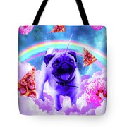 Rainbow Unicorn Pug In The Clouds In Space Tote Bag