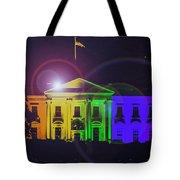 Rainbow White House Flare Tote Bag