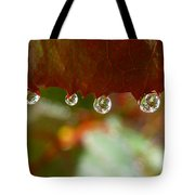 Raindrops On A Red Leaf Tote Bag