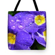Raindrops On Blue Flowers Tote Bag