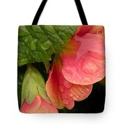 Raindrops On Coral Flowers Tote Bag