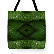 Raindrops On Green Leaves Collage Tote Bag