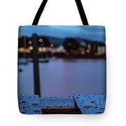 Raindrops On Metal Bench 5 Tote Bag