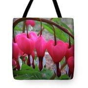 Raindrops On Pink Bleeding Hearts Tote Bag