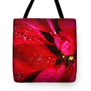 Raindrops On Red Poinsettia Tote Bag